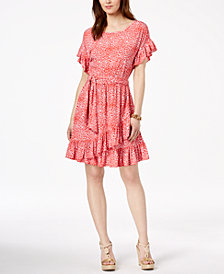 MICHAEL Michael Kors Printed Ruffled Faux-Wrap Dress