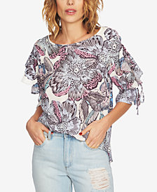 1.STATE Printed Ruffled-Sleeve Top
