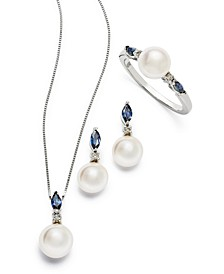 Cultured Freshwater Pearl and Marquise Sapphire Collection with Diamond Accents in 14k White Gold