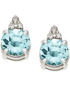 Aquamarine (1-5/8 ct. t.w.) & Diamond Accent Stud Earrings in 14k White Gold