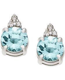 Aquamarine (1-5/8 ct. t.w.) & Diamond Accent Stud Earrings in 14k White Gold