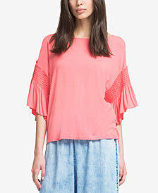 DKNY Ruffled 3/4-Sleeve T-Shirt