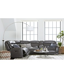 Winterton Leather & Fabric Power Reclining Sectional Sofa Collection with Power Headrests and USB Power Outlet