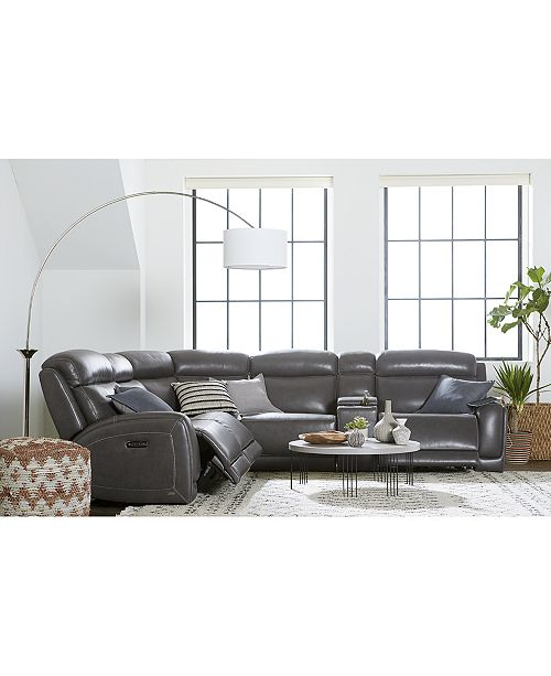 Furniture Winterton Leather & Fabric Power Reclining Sectional Sofa Collection with Power Headrests and USB Power Outlet