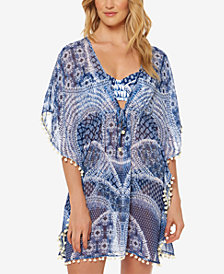 Jessica Simpson Printed Chiffon Pom Pom Cover-Up