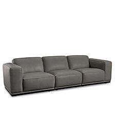 "Zeraga 109"" 3-Pc. Leather Modular Sectional, Created For Macy's"
