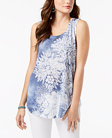 Style & Co Embellished Floral-Print Tank Top, Created for Macy's