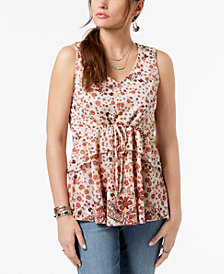 Style & Co Floral-Print Peplum Top, Created for Macy's