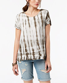 Style & Co Tie-Dyed Ruffle-Hem T-Shirt, Created for Macy's