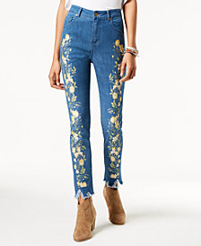One Hart Juniors' Printed Skinny Jeans, Created for Macy's