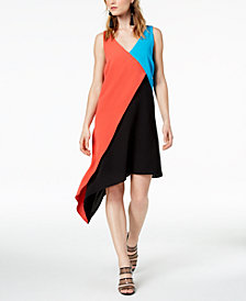 Bar III Asymmetrical Colorblocked Dress, Created for Macy's