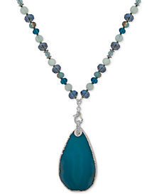 "lonna & lilly Silver-Tone Pavé & Stone Beaded 32"" Pendant Necklace"