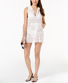 Calvin Klein Crochet Striped Hooded Tunic Cover-Up