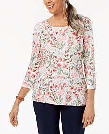 Karen Scott Petite Floral-Print 3/4-Sleeve Top, Created for Macy's