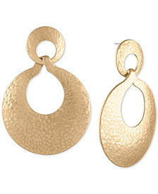 RACHEL Rachel Roy Gold-Tone Hammered Drop Earrings