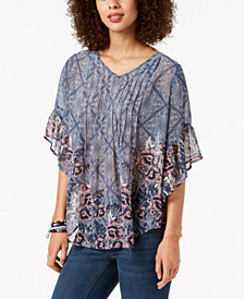 Style & Co Petite Pintucked Poncho Top, Created for Macy's