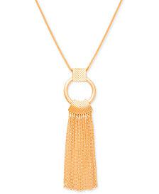 """Steve Madden Gold-Tone Ring & Chain Fringe Pendant Necklace, 35"""" + 4"""" extender"""
