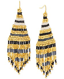 Steve Madden Gold-Tone Beaded Fringe Drop Earrings