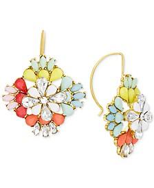 Gold-Tone Multi-Stone Flower Chandelier Earrings