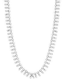 "Steve Madden Silver-Tone Crystal 18"" Collar Necklace"