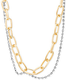 "Steve Madden Two-Tone Link & Crystal Layered Collar Necklace, 15"" + 2"" extender"