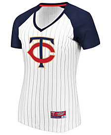 Majestic Women's Minnesota Twins Every Aspect Pinstripe T-Shirt