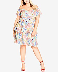 Trendy Plus Size Off-The-Shoulder Dress
