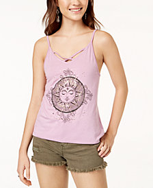 Rebellious One Juniors' Sun Metallic Graphic Tank Top