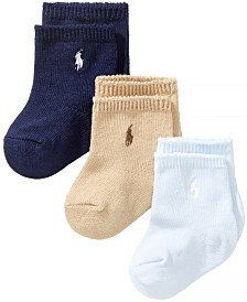 Ralph Lauren Baby Boys Crew Socks 3-Pack