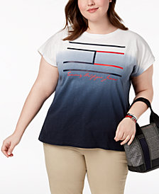 Tommy Hilfiger Plus Size Cotton Ombré Logo-Print T-Shirt, Created for Macy's