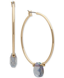 Anne Klein Gold-Tone & Stone Hoop Earrings