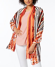 Calvin Klein Striped Floral-Print Wrap, Created for Macy's