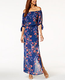 City Studios Juniors' Off-The-Shoulder Tie-Cuff Maxi Dress