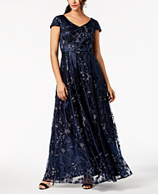 Alex Evenings Sequined Metallic Embroidered Gown