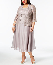 Alex Evenings Plus Size Glitter Lace Midi Dress & Jacket