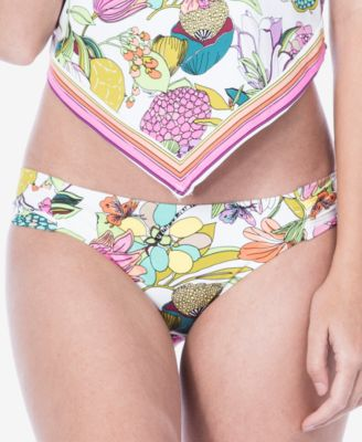 Key West Botanical Printed Shirred-Side Hipster Bikini Bottoms