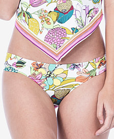 Trina Turk Key West Botanical Printed Shirred-Side Hipster Bikini Bottoms