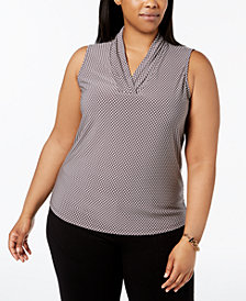 Anne Klein Plus Size Pleated V-Neck Graphic-Print Shell