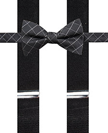 Alfani Men's Grid Pre-Tied Bow Tie & Suspender Set, Created for Macy's