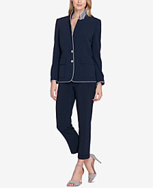 Tahari ASL Piped Two-Button Pantsuit, Regular & Petite