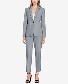 Tahari ASL One-Button Plaid Pantsuit, Regular & Petite