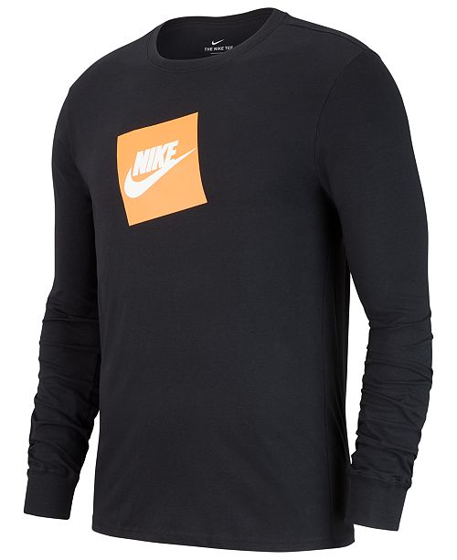 Nike Men s Sportswear Futura Shoebox Logo Long-Sleeve T-Shirt - T ... 9d47081f7