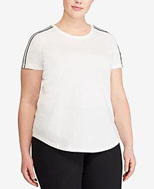 Lauren Ralph Lauren Plus Size Stripe Sleeve Cotton T-Shirt