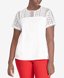 Lauren Ralph Lauren Plus Size Lace T-Shirt