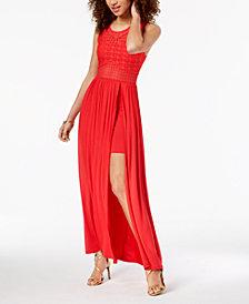 Material Girl Juniors' Crochet-Bodice Maxi Dress, Created for Macy's
