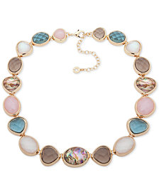 "Anne Klein Gold-Tone Multi-Stone Collar Necklace, 16"" + 3"" extender"