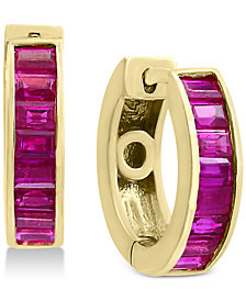 Final Call by EFFY® Ruby Baguette Hoop Earrings (1-1/2 ct. t.w.) in 14k Gold