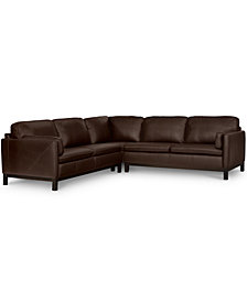 "Ventroso 3-Pc. ""L"" Shaped Leather Sectional Sofa, Created for Macy's"