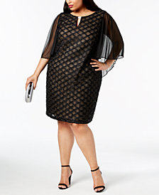 Connected Plus Size Chiffon-Cape Shift Dress