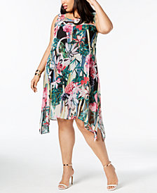 Robbie Bee Plus Size Printed Handkerchief-Hem Dress